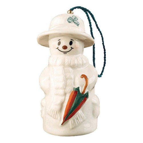 Belleek 4-1/2-Inch Snowman with Umbrella Ornament