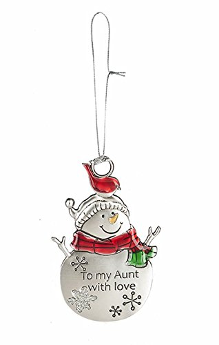 To My Aunt With Love Silver Snowman Ornament by Ganz