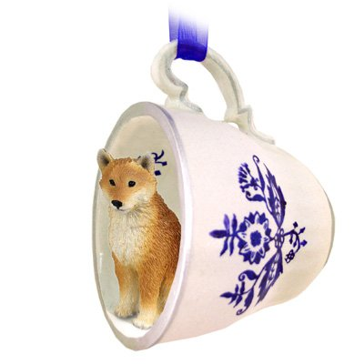 Shiba Inu Blue Tea Cup Dog Ornament