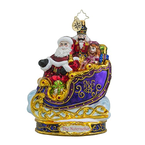 Christopher Radko Off to Other Places Sleigh Glass Christmas Ornament – Nutcracker Series – New for 2016 – 7″h.