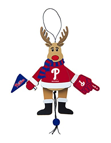 MLB Philadelphia Phillies Wooden Cheer Ornament, Brown, 5.25″