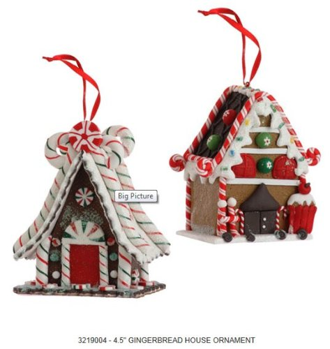 4.5″ GINGERBREAD HOUSE ORNAMENT – Set of 2 – Christmas