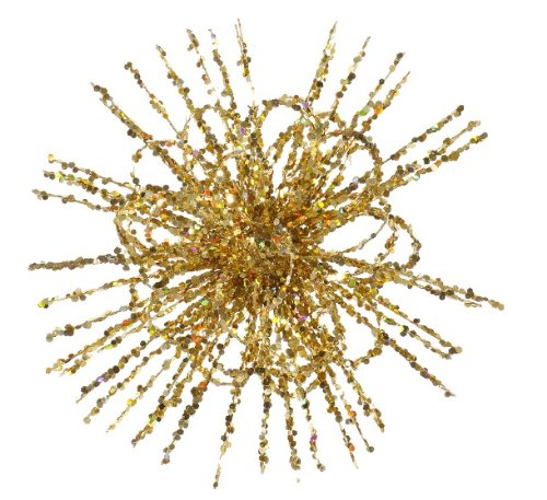 8″ Gold Glitter Flower Blossom Sequined Christmas Ornament