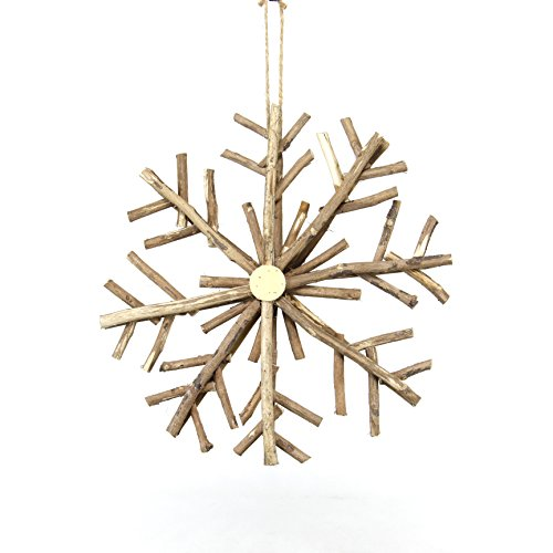 Sage & Co. XAO20126NA Snowflake Wood Center Ornament (6 Pack)