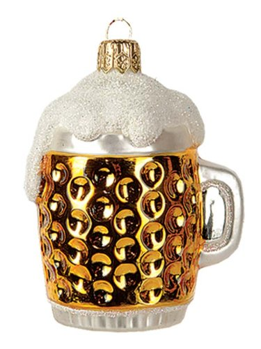 Mini Beer Mug Polish Mouth Blown Glass Christmas Ornament Decoration Made Poland