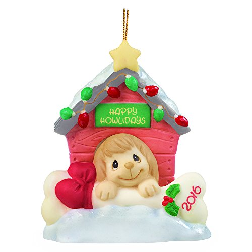 "Precious Moments, Christmas Gifts, ""Home For The Howlidays"", Dated 2016, Bisque Porcelain Ornament, #161008"