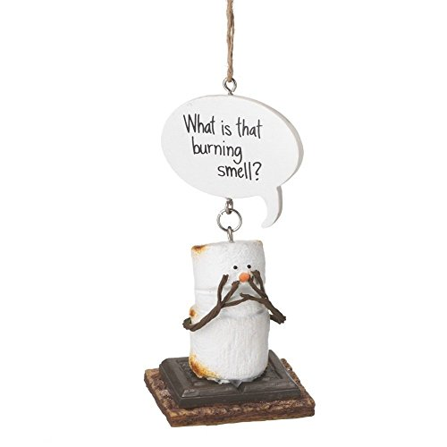 """4″ S'mores """"What is that Burning Smell?"""" Humorous Marshmallow Chocolate Sandwich Christmas Ornament"""