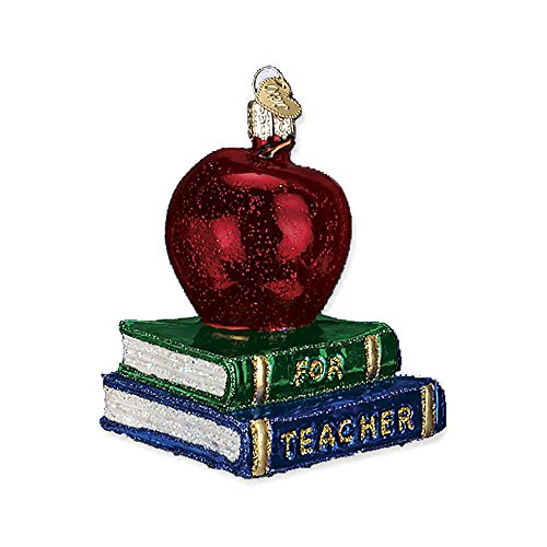 Old World Christmas Teacher's Apple Glass Blown Ornament