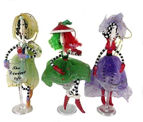 "Ashton Drake Dolly Mama's *It's Happy Hour Somewhere* Set of 3 Ornaments ""Let's Shake Things Up"""