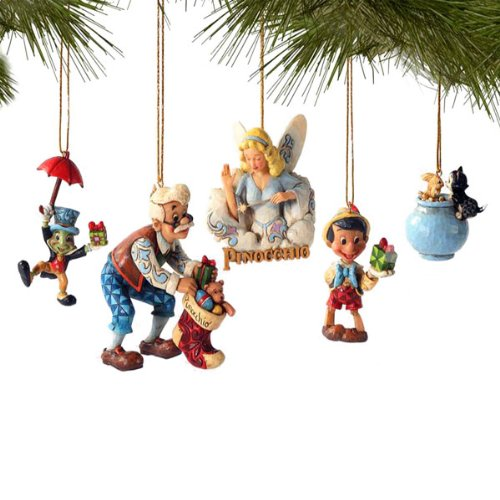 Jim Shore Disney Pinocchio 5 pc Boxed Ornament Set with Jiminy Cricket Geppetto