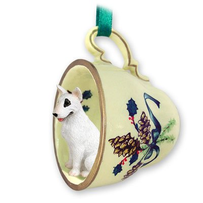 Bull Terrier Tea Cup Green Holiday Ornament