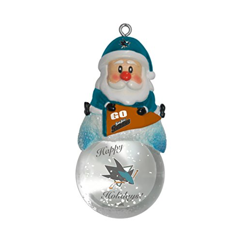NHL San Jose Sharks Snow Globe Ornament, Silver, 1.5″