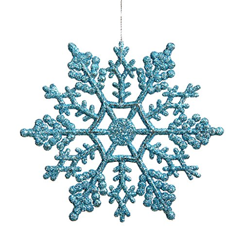 Vickerman 21448 – 4″ Turquoise Glitter Snowflake Christmas Tree Ornament (24 pack) (M101412)