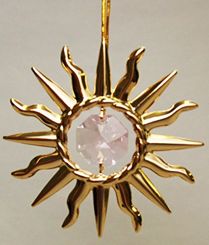 24K Gold Plated Hanging Sun Catcher or Ornament….. Sun With Pink Swarovski Austrian Crystals