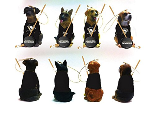 Team Dog Ornaments, 4 Assort., Pittsburgh Penguins