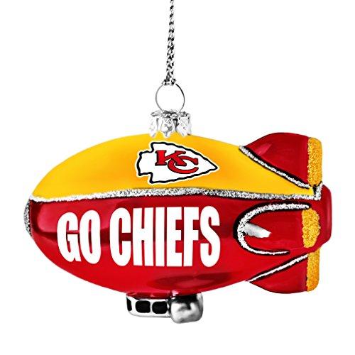 NFL Kansas City Chiefs Glitter Blimp Ornament, Silver, 3″ x 2.25″