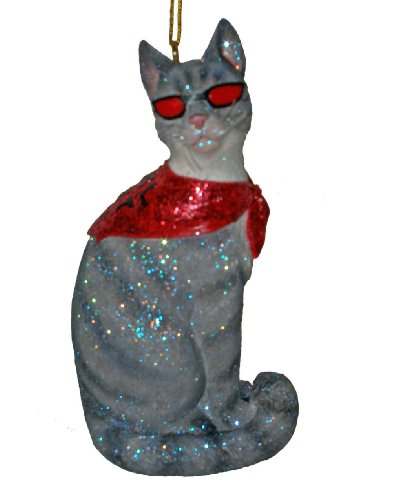 December Diamonds Cool Cat with Red Sunglasses Ornament