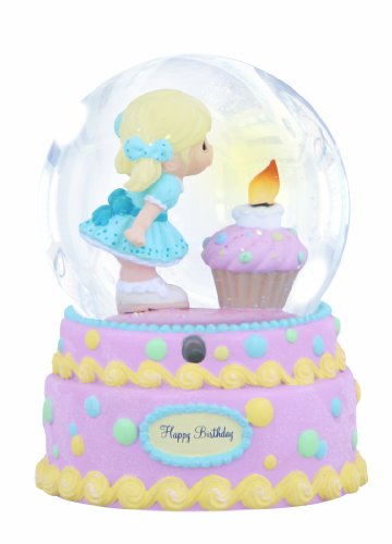 "Precious Moments, Birthday Gifts, ""Happy Birthday"", Musical, Resin Snow Globe, #132110"