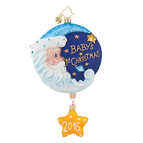 Christopher Radko Sleepytime Santa Blue 2016 Dated Baby's First Christmas Ornament