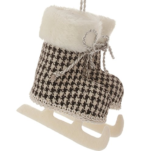 5.75″ Alpine Chic Jet Black and White Houndstooth Patterned Ice Skates Christmas Ornament