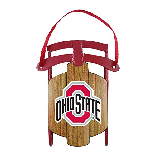 NCAA Ohio State Buckeyes Metal Sled Ornament, 3.5″ Long, Brown