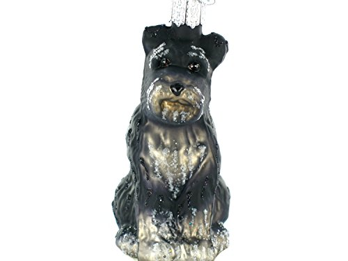 Old World Christmas Schnauzer Glass Ornament (Black), Pack of 1