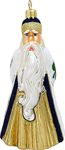 Collegiate Glitterazzi Santa w/ Football University of Notre Dame Ornament