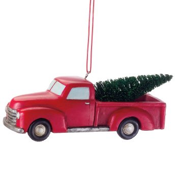 Christmas Traditions Red Pick Up Truck Christmas Ornament