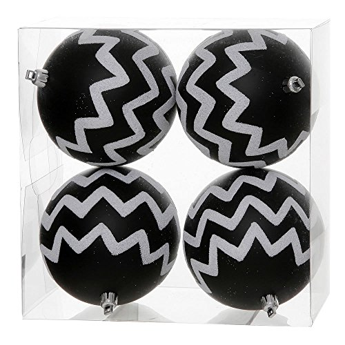 Pack of 4 Matte Black and White Glitter Chevron Striped Christmas Ball Ornaments 4.75″ (121mm)