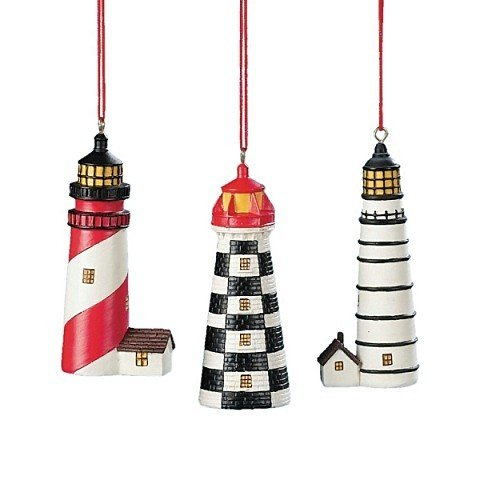 Resin Light House Ornaments Set of 3