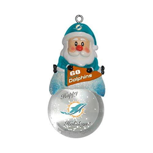 NFL Miami Dolphins Snow Globe Ornament, Silver, 1.5″