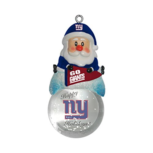 NFL New York Giants Snow Globe Ornament, Silver, 1.5″