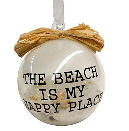 The Beach Is My Happy Place Glass Ball Hanging Christmas Ornament with Sand and Shells