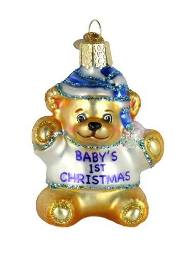 Old World Christmas Ornament Baby's First Teddy Bear Ornament – Blue for Boys
