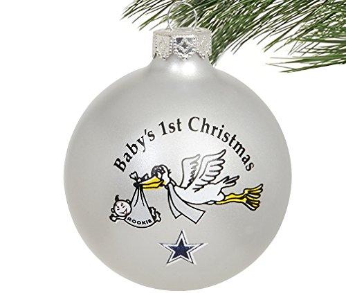 NBA/NFL/MLB/NCAA-Baby's 1st Christmas Ornament- Glass Ball-2 3/4″-Dallas Cowboys