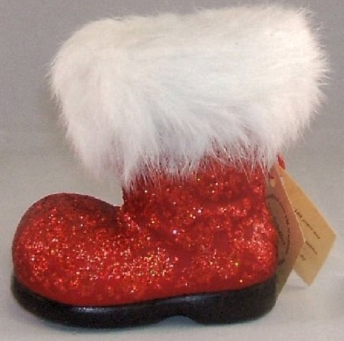 Ino Schaller Paper Mache Red Glitter Christmas Santa Boot