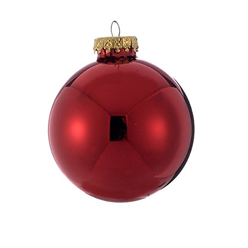Kurt Adler 80mm Shiny Red Glass Ball Ornaments, 4-Piece Box Set