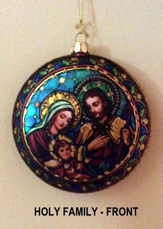 Holiday Lane [Set of 2] 5.5″ Stained Disk Glass Ornaments, Three Kings & Holy Family