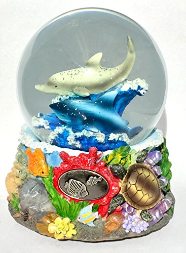 Musical Sealife Under the Sea Dolphins Sharks Turtles Reef Themed Snow Globe Glitterdome 100mm