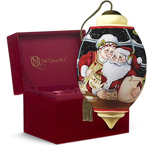 Ne'Qwa Art Christmas Gift, Susan Winget Santa and Mrs. Claus, Glass, 7161121