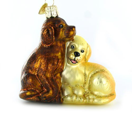 Old World Christmas Puppy Love Glass Blown Ornament