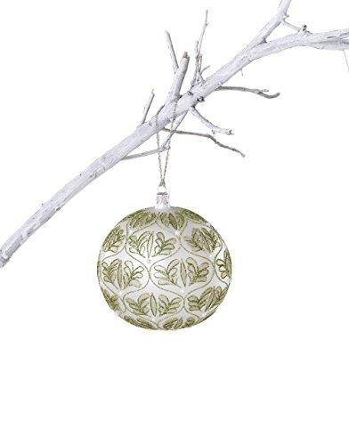 Sage & Co. XAO14457SG Glass Fern Pattern Ball Ornament, 4.75-Inch