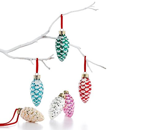 Holiday Lane Set of 6 Mini Pine Cone Christmas Tree Ornaments