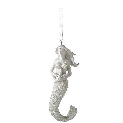 4.25″ Adorable Eggshell Mermaid Holding Starfish Decorative Christmas Ornament