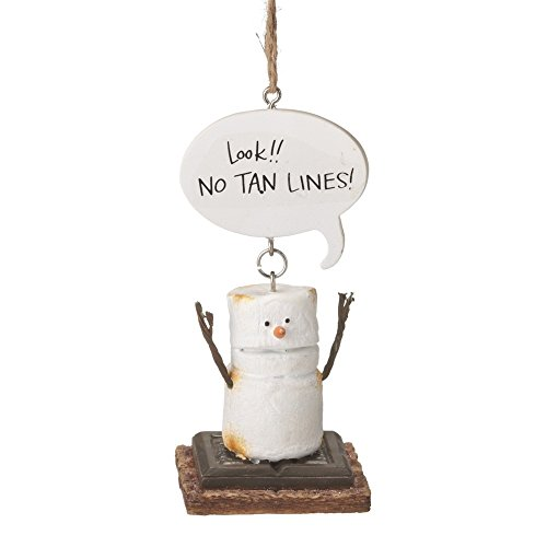 """4.25″ S'mores """"Look!! No Tan Lines!"""" Humorous Marshmallow Chocolate Sandwich Christmas Ornament"""