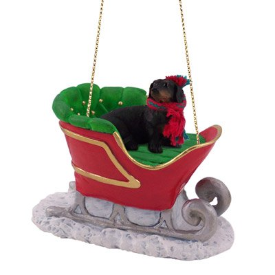 Black Dachshund Sleigh Christmas Ornament