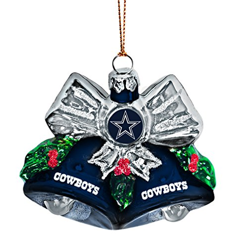 NFL Dallas Cowboys Glitter Bells Ornament, Green, 3″ x 3″