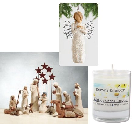15 Piece Willow Tree Nativity Collection with 2016 Ornament & Rock Creek Candle