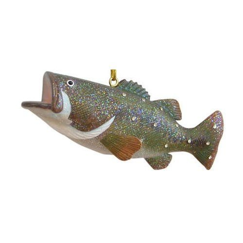December Diamonds Realistc Rhinestoned Wide Mouth Bass Ornamen