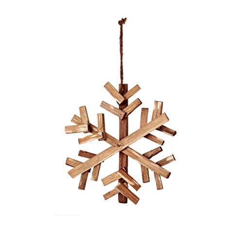 Sage & Co. XAO19715NA Wood Snowflake Ornament (6 Pack)
